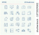 office 25 doodle icons. hand... | Shutterstock .eps vector #1372029302