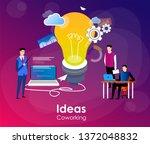 people working in friendly open ... | Shutterstock .eps vector #1372048832