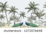 hand drawn tropic vintage... | Shutterstock .eps vector #1372076648
