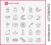 food and drink line icons set...