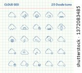 cloud seo 25 doodle icons. hand ... | Shutterstock .eps vector #1372083485