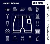 clothes shopping line icons set ...