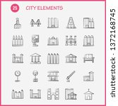 city elements hand drawn icons... | Shutterstock .eps vector #1372168745