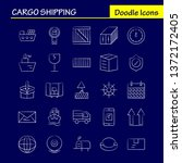 cargo shipping hand drawn icon...