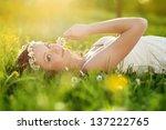 beautiful girl is relaxing... | Shutterstock . vector #137222765