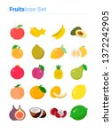 fruits icon set of color types. ... | Shutterstock .eps vector #1372242905