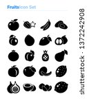 fruits icon set of black and... | Shutterstock .eps vector #1372242908