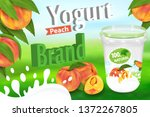 yogurt peach ads with splashing ... | Shutterstock .eps vector #1372267805