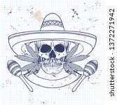 hand drawn sketch  skull with... | Shutterstock .eps vector #1372271942
