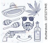 hand drawn sketch  sombrero ... | Shutterstock .eps vector #1372271945