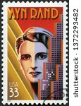 Small photo of MOSCOW, RUSSIA - JANUARY 24, 2019: A stamp printed in USA shows Ayn Rand (1905-1982), writer Alisa Zinovyevna Rosenbaum, Literary Arts Series, 1999