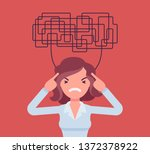 woman with confused thoughts... | Shutterstock .eps vector #1372378922