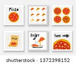 cute hand drawn doodle pizza... | Shutterstock .eps vector #1372398152