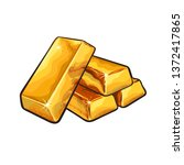 sketch of gold bar ingots. ... | Shutterstock .eps vector #1372417865