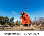 traditional swedish windmill in ... | Shutterstock . vector #137243075