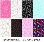 Stock vector sex shop toys flat line icon items and adult store accessories colorful seamles pattern 1372431965