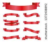 red ribbons set. vector design...   Shutterstock .eps vector #1372438892