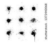 set of black ink blots. ink... | Shutterstock .eps vector #1372440068