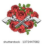guns and roses hand drawn... | Shutterstock .eps vector #1372447082