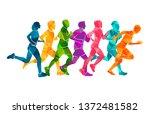 running marathon  people run ... | Shutterstock .eps vector #1372481582