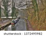 canal barge winter | Shutterstock . vector #1372495982