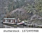 canal barge winter | Shutterstock . vector #1372495988