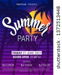 summer disco poster with palm... | Shutterstock .eps vector #1372513448