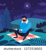man seated in the field picnic...   Shutterstock .eps vector #1372518002