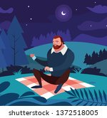 man seated in the field picnic...   Shutterstock .eps vector #1372518005