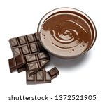 glass bowl of chocolate cream...   Shutterstock . vector #1372521905