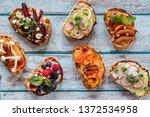 flat lay of small open faced... | Shutterstock . vector #1372534958