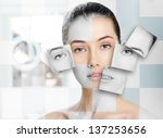 beauty woman on the bathroom... | Shutterstock . vector #137253656