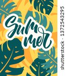 colorful summer poster with... | Shutterstock .eps vector #1372543295