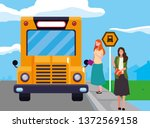 female teachers couple in stop... | Shutterstock .eps vector #1372569158
