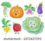 set of funny vegetables in... | Shutterstock .eps vector #1372627292