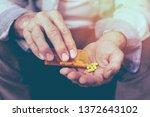 old man taking a pill | Shutterstock . vector #1372643102