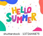 hello summer poster. colorful...   Shutterstock .eps vector #1372644875