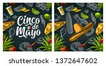 seamless pattern mexican food... | Shutterstock .eps vector #1372647602