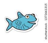 sticker of a cartoon happy fish   Shutterstock . vector #1372661315