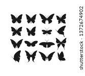 butterfly realistic black... | Shutterstock .eps vector #1372674902