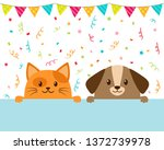 cute funny cartoon cat and dog... | Shutterstock .eps vector #1372739978