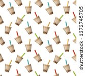 bubble tea background. seamless ... | Shutterstock .eps vector #1372745705