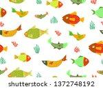 sea theme seamless pattern...   Shutterstock .eps vector #1372748192