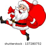 santa claus running with the... | Shutterstock .eps vector #137280752