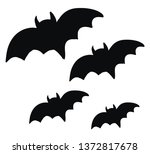 two pairs of pitch black bats... | Shutterstock .eps vector #1372817678