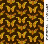 seamless pattern with butterfly ... | Shutterstock .eps vector #1372923305
