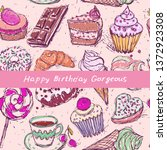 happy birthday gorgeous card ... | Shutterstock .eps vector #1372923308