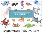 cartoon sea life concept with... | Shutterstock .eps vector #1372970375