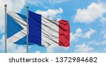 scotland and france flag waving ... | Shutterstock . vector #1372984682