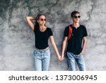 hipster teen girl and boy... | Shutterstock . vector #1373006945